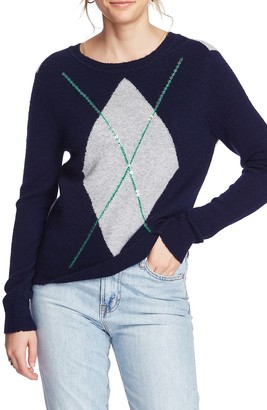 Court And Rowe Cozy Boucle Sequin Argyle Sweater