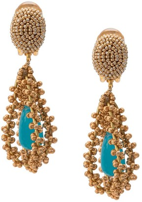 Oscar de la Renta Embroidered Earrings