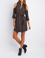 Charlotte Russe Striped Cold Shoulder Shirt Dress