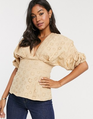 Asos DESIGN v neck top in broderie with ruched volume sleeve