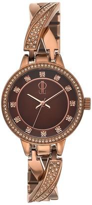 JLO by Jennifer Lopez Women's Julia Crystal Crisscross Half Bangle Watch