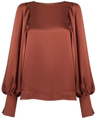 MONICA Nera Aida Copper Silk Long-Sleeve Blouse