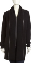 Vince Jacquard Leather-Trim Coat, Black
