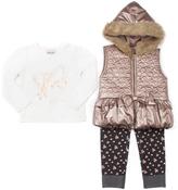 Little Lass Bronze Faux Fur Hooded Puffer Vest Set - Infant