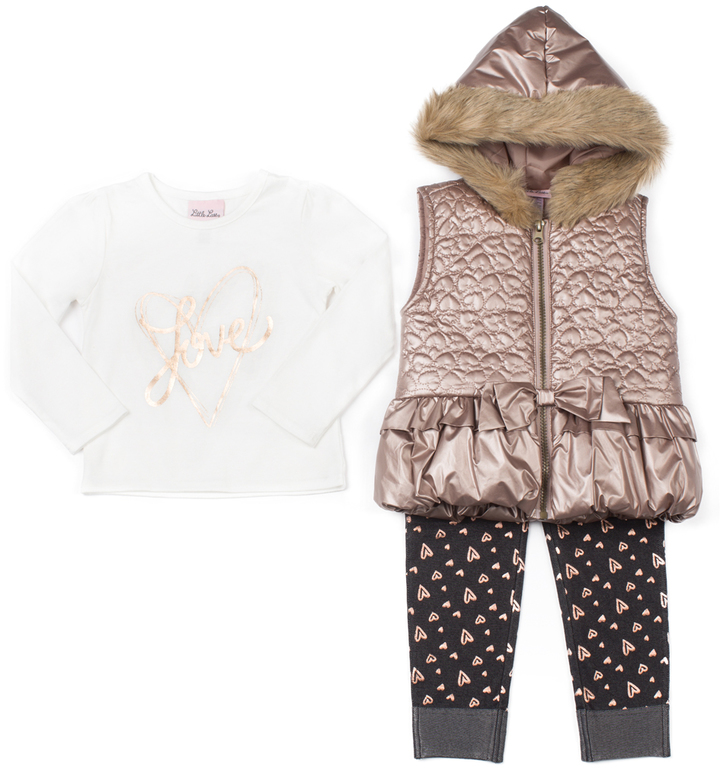 Little Lass Bronze Faux Fur Hooded Puffer Vest Set - Infant, Toddler & Girls