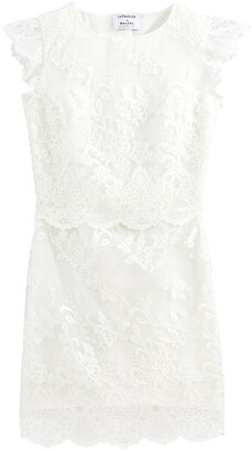 Ruffled Sleeveless Mini Wedding Dress in Guipure Lace