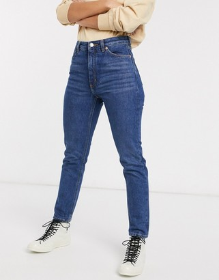 Monki Kimomo high waist mom jeans with organic cotton in dusty blue