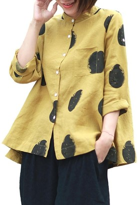 MERICAL Women's Plus Size Long Sleeve Button Polka Dot Pocket Stand Collar Casual Tops Shirt Loose Blouse Yellow