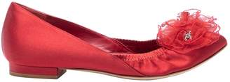 Chanel Red Cloth Flats