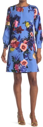 T Tahari Long Sleeve A-Line Floral Dress