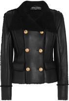 Balmain Double-breasted Shearling Biker Jacket - Black