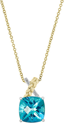 Effy 14K Two-Tone 4.52 Ct. Tw. Diamond & Blue Topaz Pendant Necklace