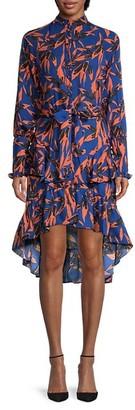 Walter Baker Leaf-Print High-Low Dress