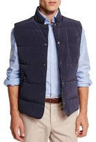 Brunello Cucinelli Quilted Snap-Button Vest, Navy