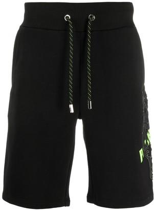 Philipp Plein Tiger logo print drawstring shorts