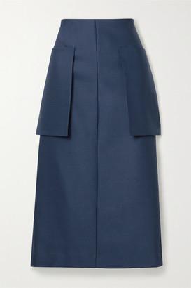 The Row Jenna Wool-blend Midi Skirt - Navy