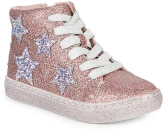 Steve Madden Girl's Glitter High-Top Sneakers