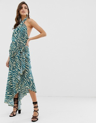 Asos Design DESIGN sash side midi dress in satin abstract zebra print-Multi