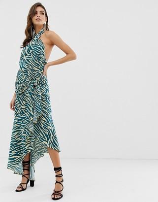 Asos Design DESIGN sash side midi dress in satin abstract zebra print