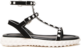 Valentino Rockstud Suede And Leather Sandals