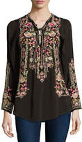 Johnny Was Fabio Embroidered Blouse, Dark Cocoa, Petite