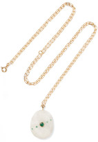 Cvc Stones Salento 18-karat Gold, Stone And Emerald Necklace - one size