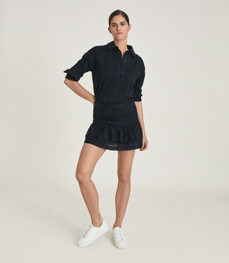 Reiss Eila - Cotton Silk Blend Mini Skirt in Navy