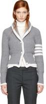 Thom Browne Grey Shawl Collar Four Bar Cardigan