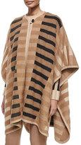 Escada Mixed-Tone Striped Blanket Cape