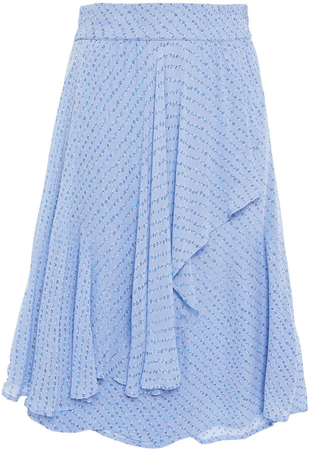 Ganni Wrap-effect Printed Georgette Skirt