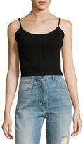 Haute Hippie The Jolene Cropped Suede Tank Top, Black