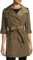 French Connection Nylon Double-Breasted Trench Coat, Olive