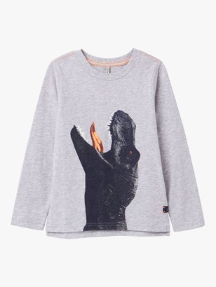 Joules Little Joule Boys' Action Dinosaur Long Sleeved Top, Grey