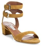 Tabitha Simmons Aimee Double-Strap Suede Block-Heel Sandals