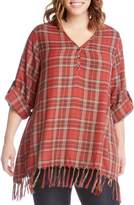 Karen Kane Plaid Fringe Top
