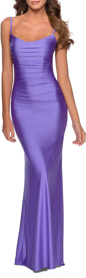 La Femme Strappy Back Ruched Trumpet Gown
