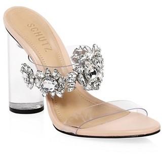 Schutz Blanck Clear-Heel Embellished Mules