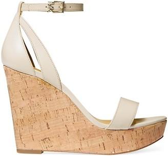 MICHAEL Michael Kors Kimberly Leather Cork Platform Wedge Sandals