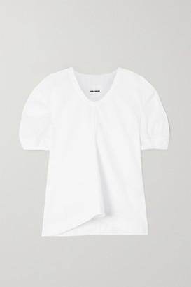 Jil Sander Pleated Cotton-poplin Blouse - White