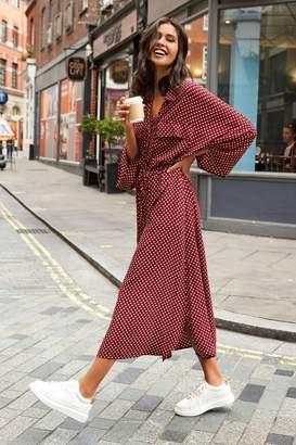 Next Womens Berry Spot Shirt Dress - Red