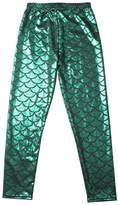 JOYHY Kids Girls Elastic Waist Fish Scale Printed Leggings Pants Footless Tights