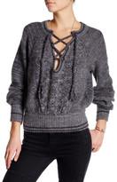 Free People Split V-Neck Lace-Up Sweater