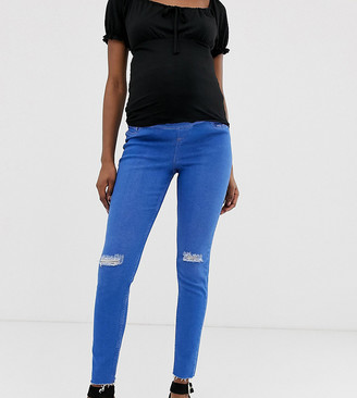 New Look Maternity over bump ripped jeans in blue
