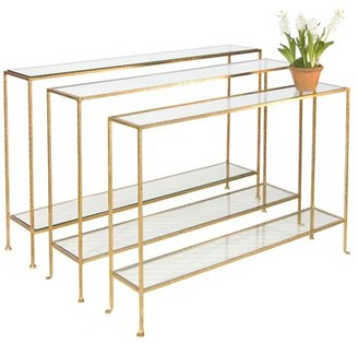 """Worlds Away Console Table Table Base Color: Gold Leaf, Size: 32"""" H x 50"""" W x 10"""" D"""