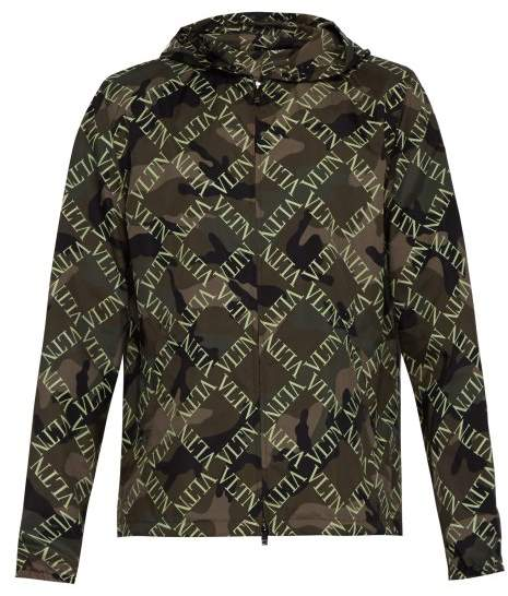 Valentino Vltn Slim Fit Camouflage Hooded Jacket - Mens - Khaki