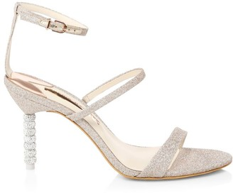 Sophia Webster Rosalind Embellished-Heel Glitter Sandals