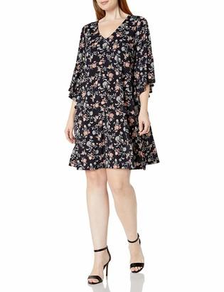 Karen Kane Women's Plus Size V-Neck Bell Sleeve Dress
