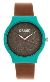 Crayo Unisex Glitter Brown Leatherette Strap Watch 36mm