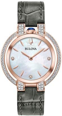 Bulova Women's Rubaiyat Diamond Rose Gold Croc Embossed Leather Strap Watch, 35mm - 0.34 ctw