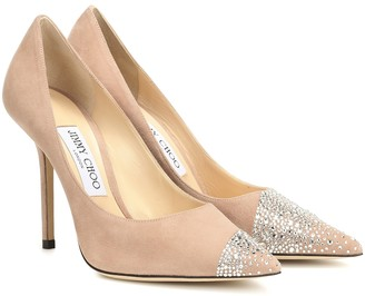 Jimmy Choo Love 100 embellished suede pumps